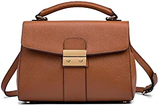 First Layer Of Leather Handbags/Shoulder/Diagonal Chain Leather Handbag Outdoor Travel Business Bag. jszzz (Color : Brown)
