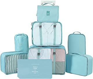 GuaziV 8 Set Packing Cubes,Travel Luggage Bags Packing Organizers Set with Hanging Toiletry Bag (Sky blue)