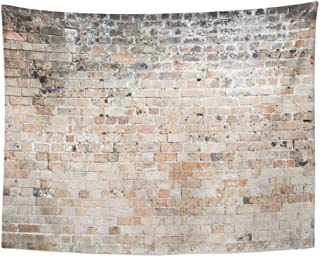 Remain Unique Tapestry Brown Vintage Red Old Weathered Exposed Brick Wall Concrete Distressed Wide White Wall Hang Decor Indoor House Made in Soft