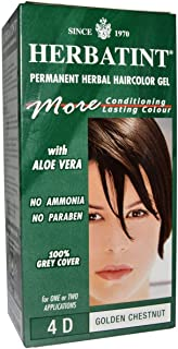 Herbatint, Permanent Herbal Haircolor Gel, 4D Golden Chestnut, 4.56 fl oz (135 ml)