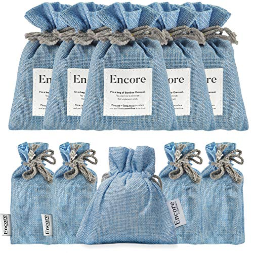 Encore Essentials 9 Pack Bamboo Charcoal Bags - Air Purifying Bags, Charcoal Bags Odor Absorber for Home and Car (Pet Friendly), Charcoal Air Purifying Bags (4x 100g, 4x 50g, 1x 60g)