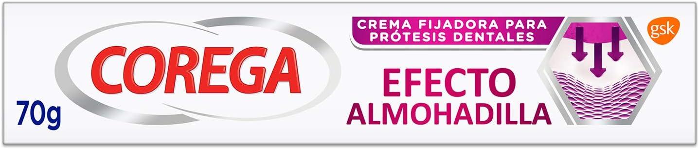 Corega, Efecto Almohadilla, Crema Fijadora para Prótesis Dentales, Fijación Fuerte durante todo el Día, 70 g
