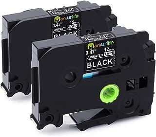 Markurlife White on Black 12mm Label Tape, P-Touch TZ Tape, TZe335 TZ-335 for Brother ptouch PTH110 PT-D200 PT-D210 PT-1750 PT-1800 PT-2030, Standard Laminated Labels, 1/2 inch x 26.2 ft, 2-Pack