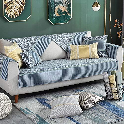 YUTJK Fashion Mehrzweck Sofabezug Sofaüberwurf aus Baumwolle,Couch Überzug, Bettüberwurf Tagesdecke Sofa Überzug,Gewebtes Muster Baumwollsofa-Abdeckung-Blau_90×240cm.