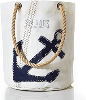 Sea Bags Recycled Sail Cloth Navy Anchor Beverage Bucket Bag