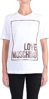 Love Moschino Cotton Jersey T-Shirt_3D Multicolor Glitter Confetti, Bianco, 44 Donna