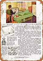 標準的な電気食器洗い機のブリキのサインヴィンテージノベルティ面白い鉄の絵の金属板