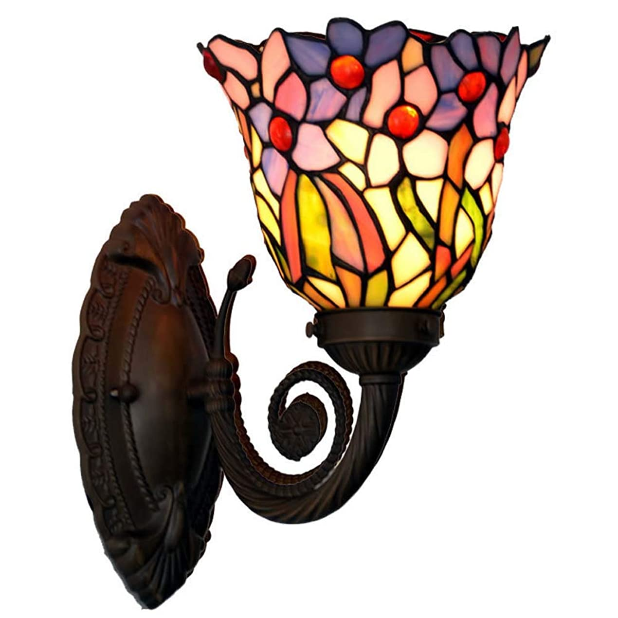 瞑想する負担タッチティファニースタイルブラケットライト/壁取り付け用燭台、クラシックレトロスモールオーキッドデザインウォールランプ、バスルームウォールラ