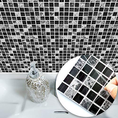 Wandsticker abnehmbare Tapeten Fliesen-Aufkleber selbstklebend quadratisch wasserdicht ölfest Vinyl Wand Kunst für Schlafzimmer Küche Bad Kunst Wandbild, Vinyl, Mosaik, 8*8 inch*10 PC