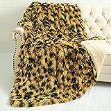 LOCHAS Super Soft Shaggy Leopard Blanket, Fuzzy Sherpa Cheetah Print Blankets, Washable Cozy Warm Faux Fur Bed Throw for Couch Chair Sofa Decorative, 50x60 Inch Khaki / Black