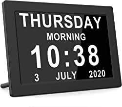 [2020 Upgraded] Digital Calendar Alarm Day Clock Large AM/PM Function, for Impaired Vision People, Age Seniors, The Dementia, for Desk, Wall Mounted- Black