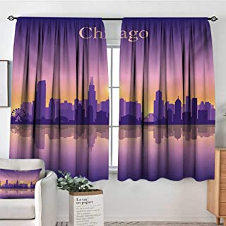 Theresa Dewey Window Curtains Chicago Skyline,Sunset in Illinois American Horizon Behind High City Silhouettes,Purple Apricot Pink,Fashionable Illustration Customized Curtain 63