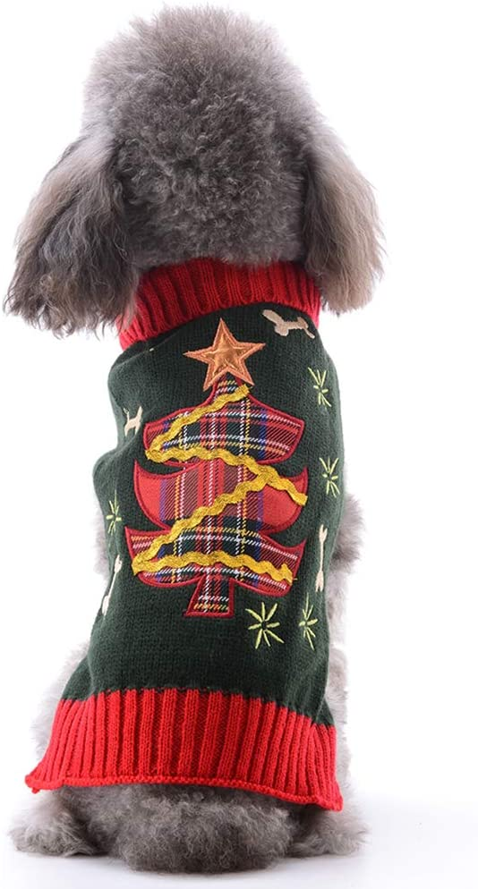 TENGZHI Pet Christmas dog Clothes,Warm Winter Costumes for Dogs Puppy Cat Sweater Jumper,Xmas Pets Costume Jumpers For Small Medium Dogs