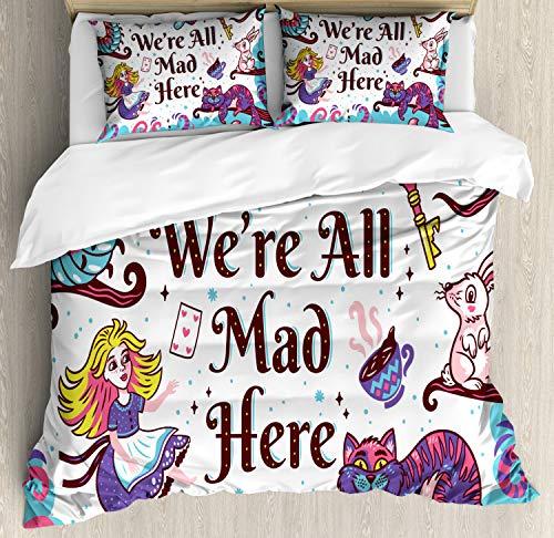 ABAKUHAUS Alice nel Paese delle Meraviglie Set Copripiumino, Alice nel Paese delle Meraviglie, Arredamento del Letto, 3 Pezzi con 2 Fodere Cuscini, 200 x 200 cm, Multicolore