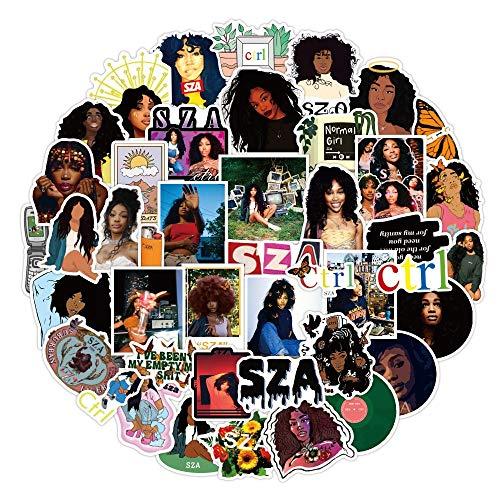 YOUKU Pegatinas de cantante femenina inspiradoras negro chica patín portátil maleta casco calcomanía regalo 50 piezas