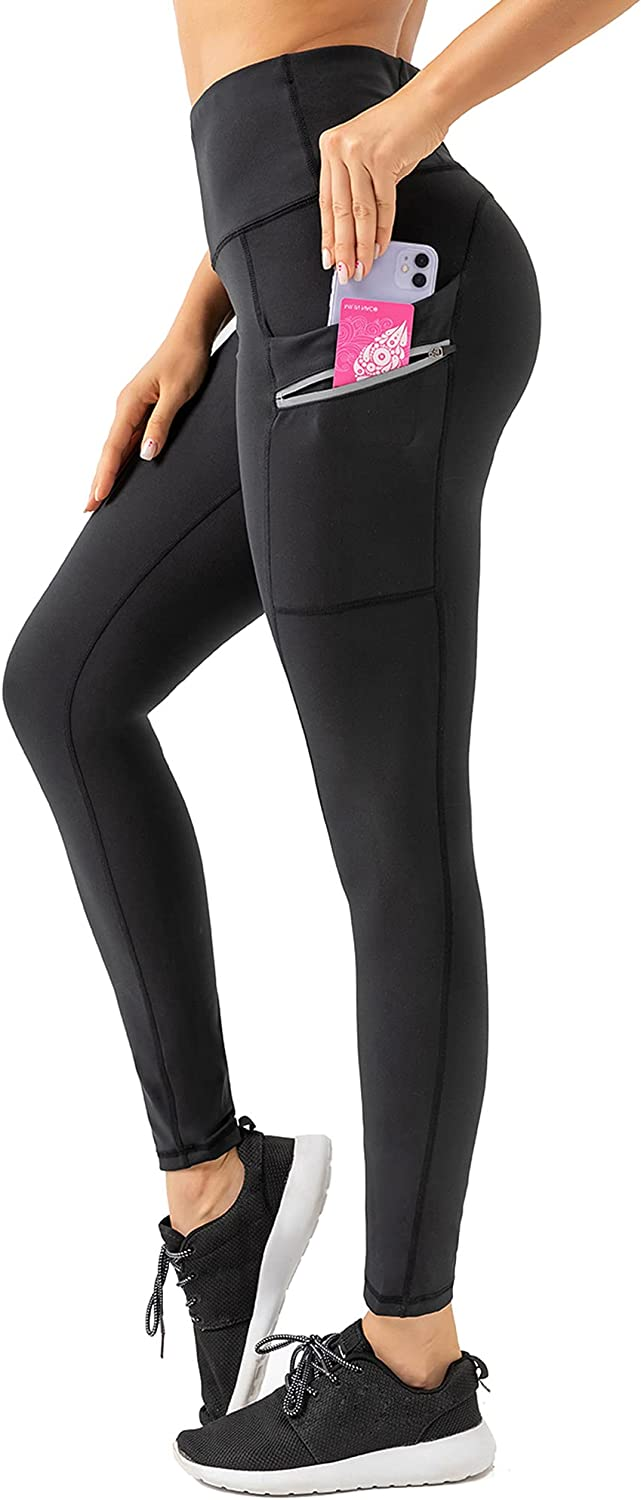 Reshe Women's High-Waist Yoga Leggings, Plus Size Pants with Pockets,Reflective Night Running Jogger & Everyday Fitness