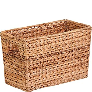 Honey-Can-Do STO-02883 Magazine Water Hyacinth Basket, 15.5 L x 5.3 W x 10 H in