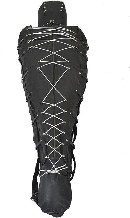 Genuine leather sleep Sack Ajustée Bondage Body Sac avec capuche restreinte Sac BDSM
