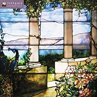 Tiffany 2018 12 x 12 Inch Monthly Square Wall Calendar with Glitter Flocked Cover Featuring Work by Louis Comfort Tiffany by Flame Tree, Stained Glass Art Nouceau Design