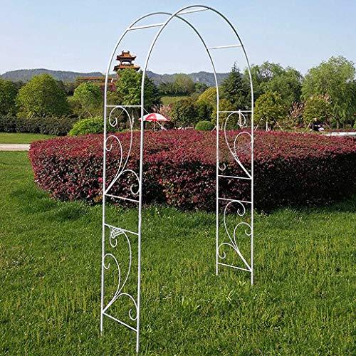 AAQQ Hoher 2,2 M Rosenbogen aus Metall, Starke Röhrenförmige Laube für Rosenkletterpflanzen, Stützbogen, Rosengitter, Gartendekoration (Schwarz, Weiß)