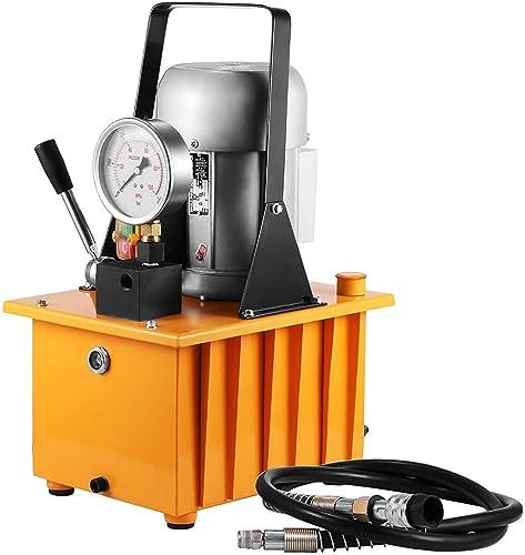 Mophorn Electric Hydraulic Pump 10000 PSI Driven Hydraulic Pump Single Acting Manual Valve Electric Driven Hydraulic Pump with Solenoid Valve Oil Pressure Pump