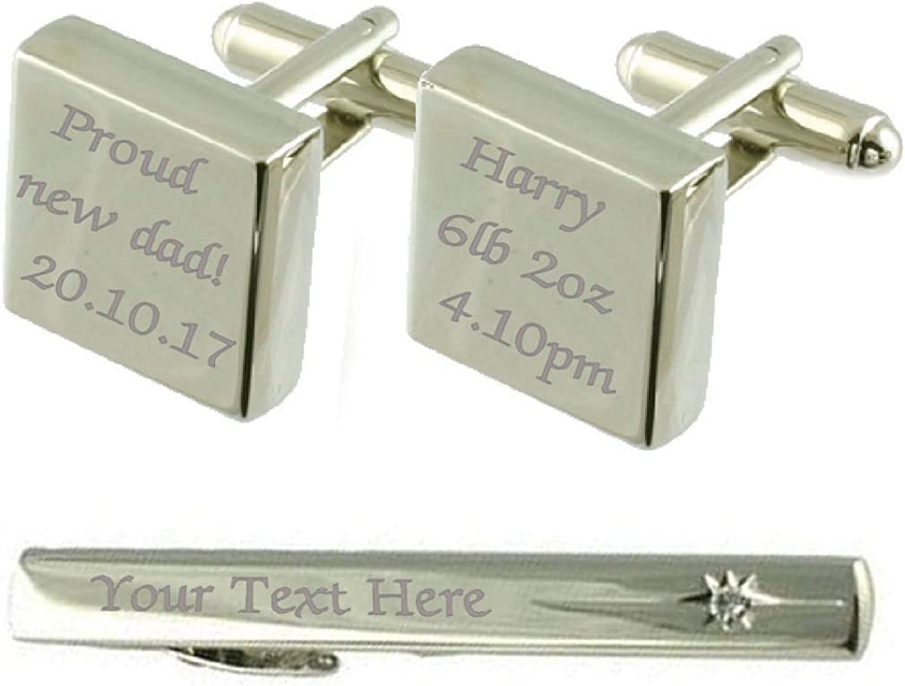 Select Gifts Proud Sale price New Dad Baby Cufflinks Box Clip Tie Engraved Austin Mall