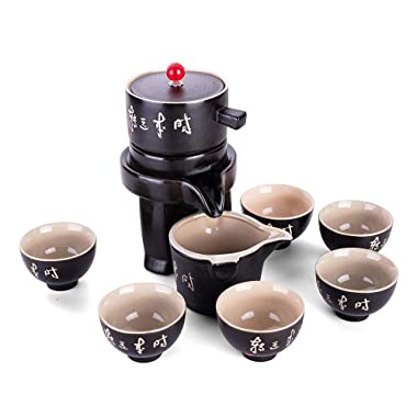 Ufine Chinese Ceramic Gongfu Tea Set Black Pottery Tea Service Set Semi-Automatic Stone Mill Teapot with Strainer 6 Cups Trantional Kung Fu Tea Gift Set