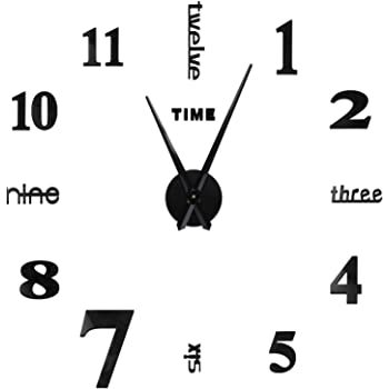 SOLEDI Wall Clock Mirror Surface Adhesive Large DIY Clock for Home Living Room Bedroom Office Decoration