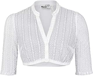 MarJo Damen Dirndl Bluse V-Ausschnitt halbarm weiß, Weiß,