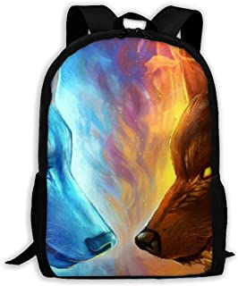 Fire And Ice Wolf School Backpacks Waterproof School Bags Durable Travel Camping Backpacks For Boys And Girls