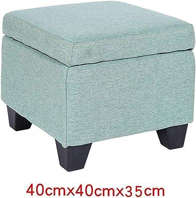 Space-Saving Ottoman Bench Pouffe, Linen Footstool Folding Storage Bench Toy Box Blue 40 * 40 * 35cm
