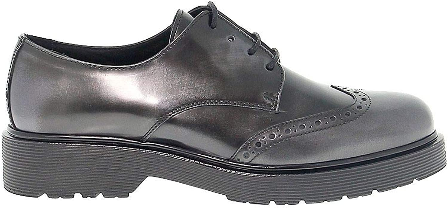 ANTICA CUOIERIA Women's ANTIC20326 Grey Leather Lace-Up shoes