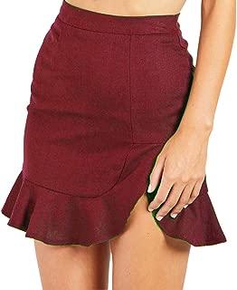 Women's High Waist Swing Ruffle Frill Mini Bodycon Skirt Short Wrap Skirt