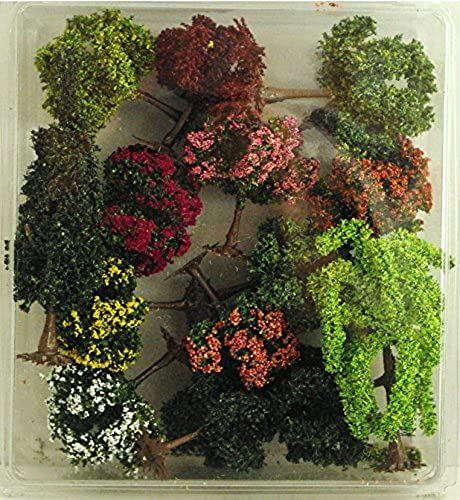 Set di 15 alberi  6 argentni, 1 pioppo, 5 fiorenti, 2 frutiferi, 2 pcourirus Tronco in plastica ( Er Decor - ER.2491 )