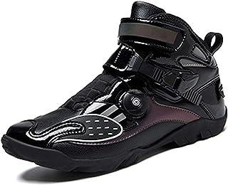 Bottes de moto pour hommes,Botte sur route de scooter de sport de lacet de fil d'acier à bouton rotatif,Chaussures de chev...