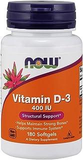 La vitamina D-3. soporte estructural. 400 UI. 180 Cápsulas - Now Foods