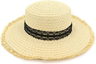 Hats Summer Beach Sun Straw Hats Women's Wide Brim Foldable Caps Fashion (Color : Beige, Size : Adjustable)