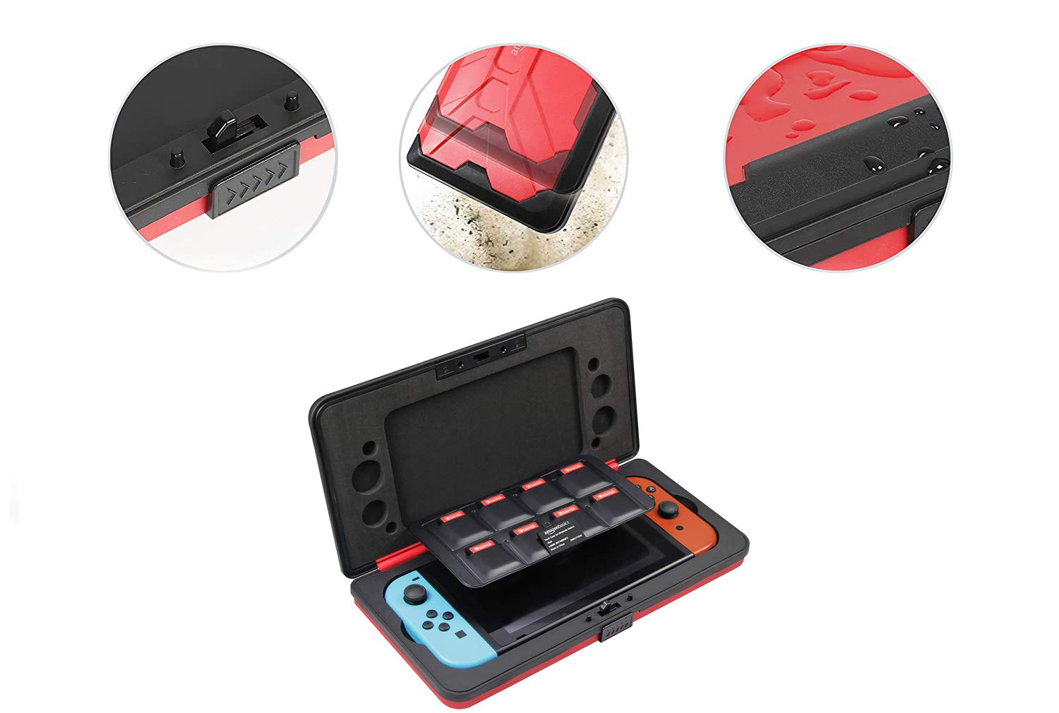 Amazon Basics Vault Case for Nintendo Switch, 10.5 x 5.4 x 1.8 inches, Red
