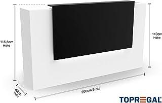 Elegante mostrador de recepción VERA con iluminación LED – Mesa receptora B200 x H115,5 x T40cm, Weiss-Schwarz