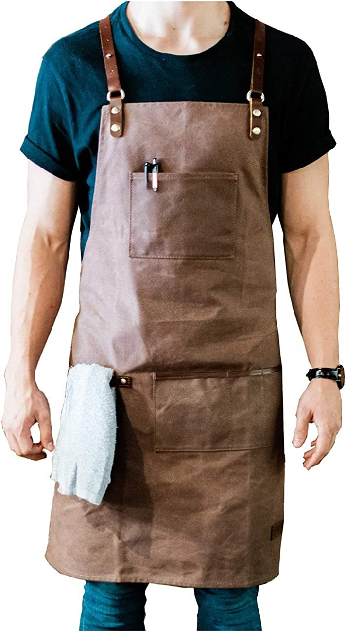 ApronMen   Leather and Canvas Adjustable Work Apron for Men