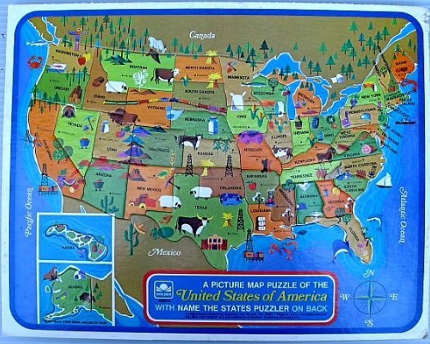 golden Unisex A Picture Map Puzzle Of The United States Of America  Learn State Shapes & Capitals; Brand; Western Publishing Co 1968