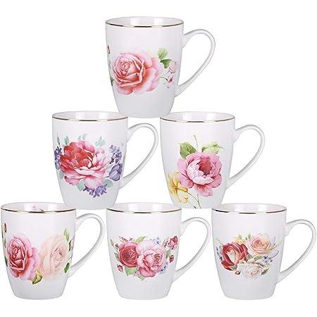 Set of 4 Daffodil Flower Design Fine China Coffee Latte Cappuccino Tea Cups Mugs
