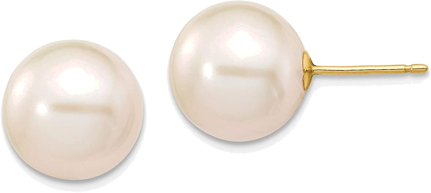10-11mm White Round Freshwater Cultured Pearl Stud Post Earrings in 14K Yellow Gold