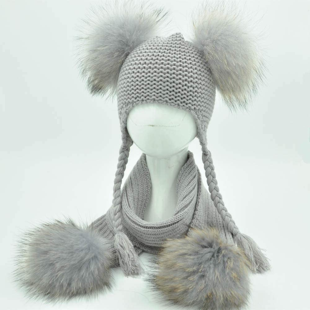Kids Winter Hat and Scarf Set for Children Girls Boys Luxury Warm Crochet Beanie Set Real Raccoon Fur Pompom Cap and Scarf Set (Color : Lighe Grey Match Fur, Size : 1 5 Year Old Kids)