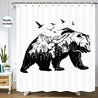 JAWO Bear Shower Curtain for Bathroom, Black Bear with Forest Trees Flying Birds Animal Lodge Cabin Wildlife Shower Curtain for Bathroom, 72 in, Fabric Shower Curtain Hooks Include, Black White