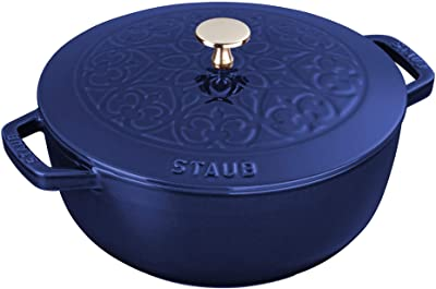 Staub Cast Iron 3.75-qt Essential French Oven with Lilly Lid - Dark Blue