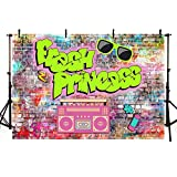 MEHOFOTO The Fresh Princess Baby Shower Party Decorations Banner Photo Studio Background Pink Graffiti Brick Wall Hip Hop Vintage Disco Neon Girl Birthday Backdrops Props for Photography 7x5ft
