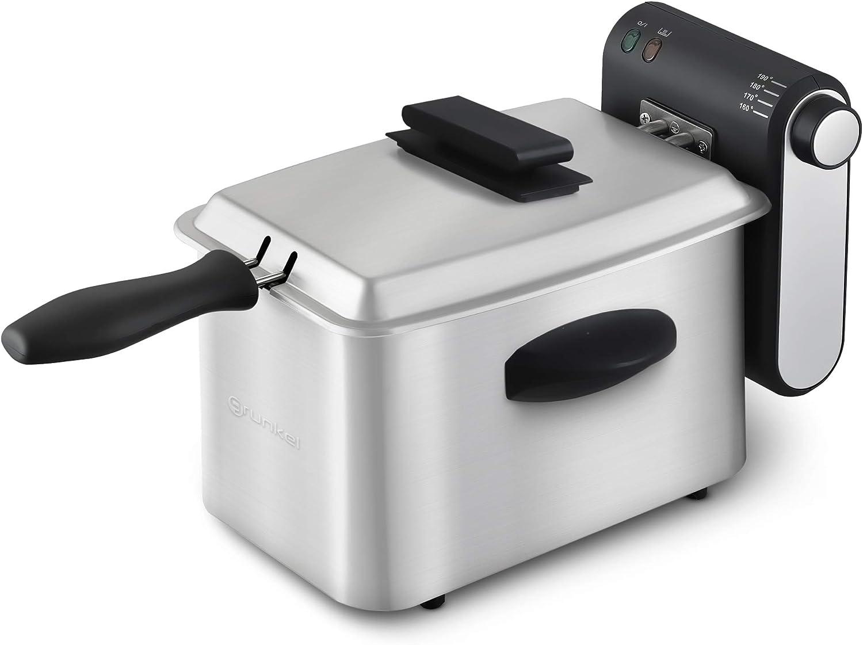 Grunkel - FRYPRO2 - Freidora de 2L de capacidad con filtro antiolores, cuerpo de acero inoxidable, mango de tacto fríor y protección contra sobrecalentamiento - 1800W