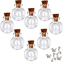 LEFV 24Pcs Mini Glass Bottles with Cork Stoppers - 1 Inch Small Tiny Vials Jars Wishing Message Bottles Decorative Charms Necklace Pendant for Party Favors (Ball)