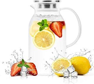 Caf/é Lait 1.5 litres Pichet /à Eau Cruche /à Eau avec Couvercle en Acier Inoxydable Jus CNNIK Carafe en Verre pour Eau Chaude//Froide Vin Boisson